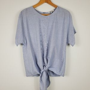 Madewell Tie Front Button Up Back Blue & White Top